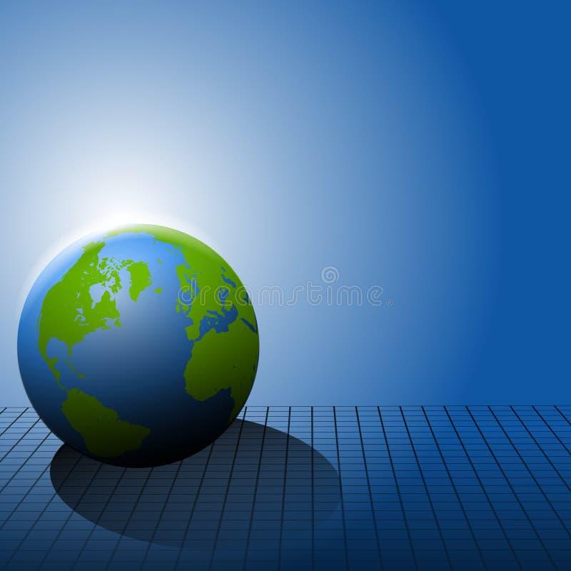 Erde auf blauem Rasterfeld-Hintergrund lizenzfreie abbildung