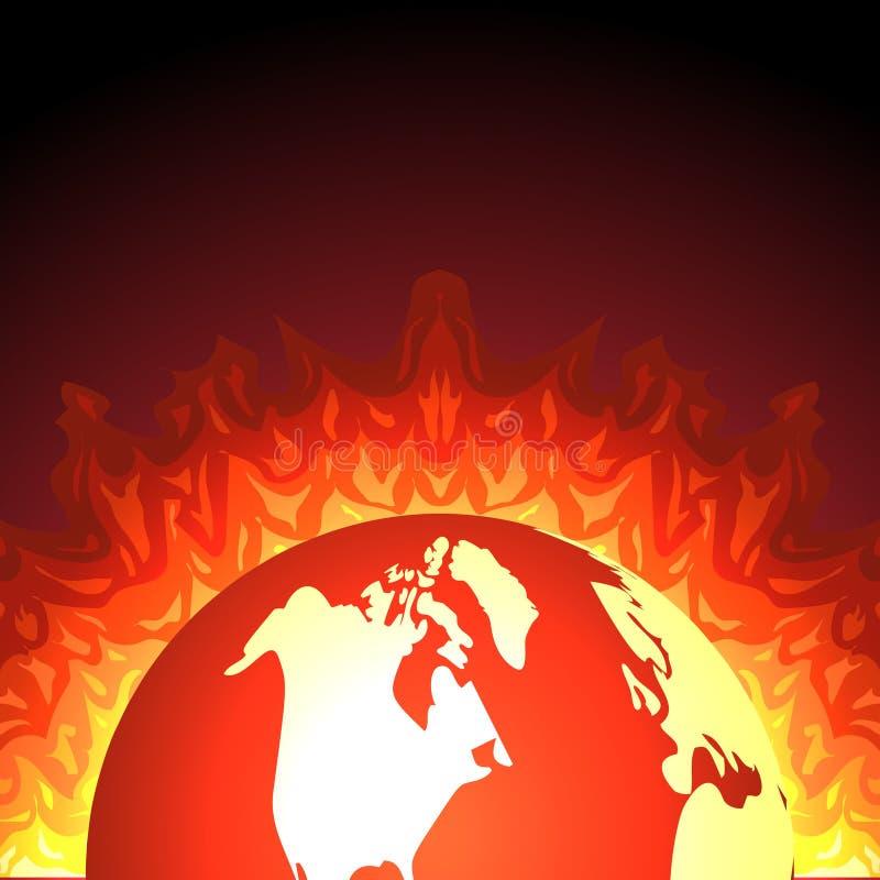 Erde auf Feuer Flache Vektorillustration des Planeten vektor abbildung