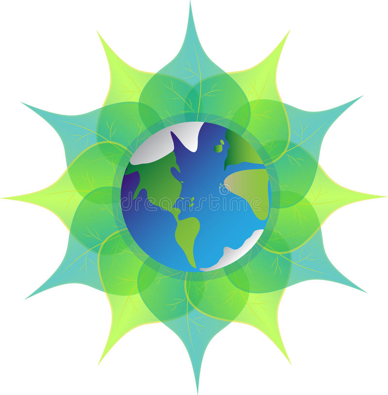 Erde auf Grünblättern auf weißem Hintergrund Mutter Erde Blauer Planet lizenzfreie abbildung
