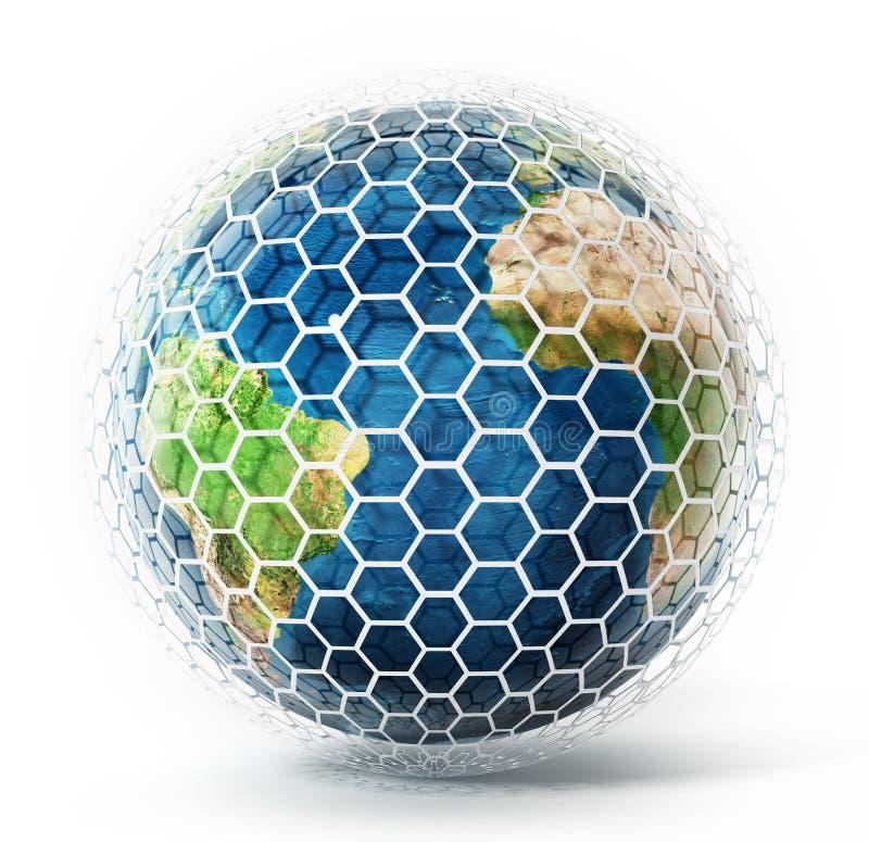 Erde bedeckt mit sechseckigen Fliesen Abbildung 3D vektor abbildung