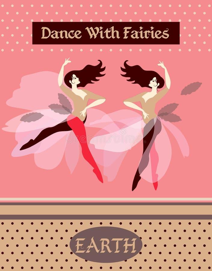 Erde boden Sammlung Plakate mit Tanzenfrauen, die vier Elemente darstellend lizenzfreie abbildung