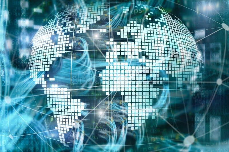 Erde 3D als Telekommunikation und Internet-Technologiekonzept lizenzfreie abbildung