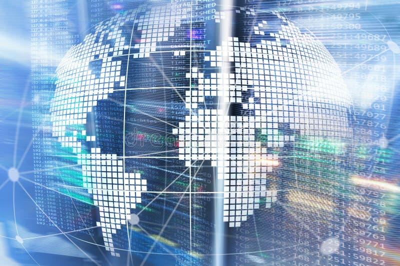 Erde 3D als Telekommunikation und Internet-Technologiekonzept stockfotografie