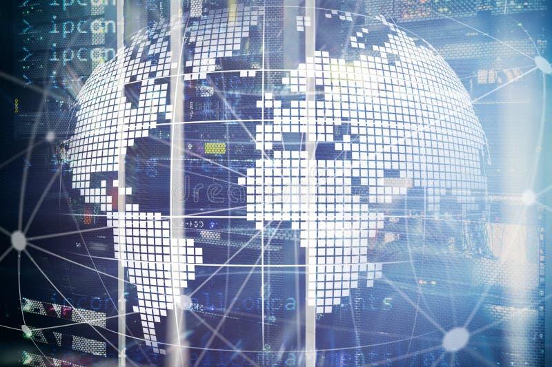 Erde 3D als Telekommunikation und Internet-Technologiekonzept stockbild