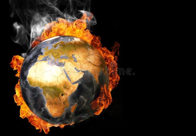 Erde in den Flammen lizenzfreies stockfoto