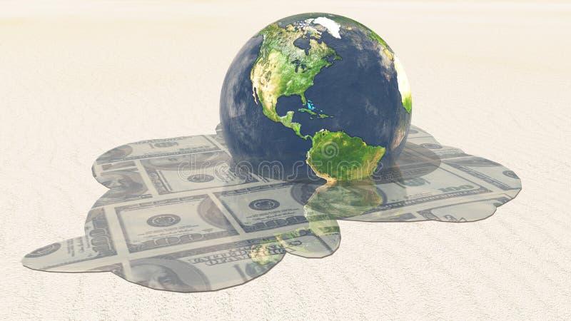 Erde-Dollarschmelze lizenzfreie abbildung