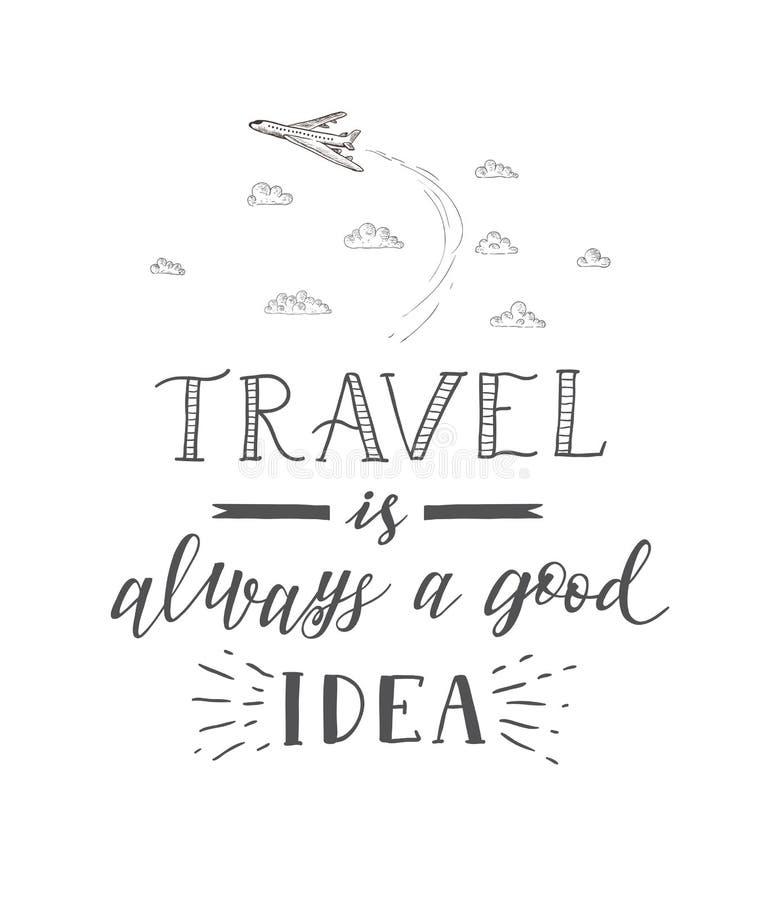 Erde, Flugtickets und Pass auf weißem Hintergrund Tourismusfahne mit Handbeschriftungszitat stock abbildung