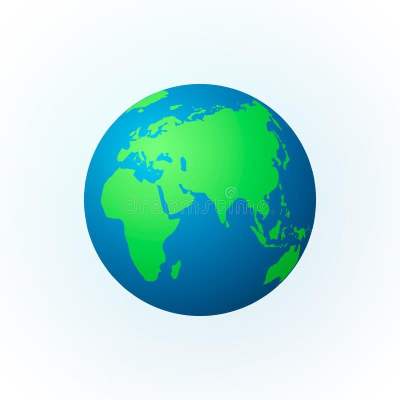 Erde in Form einer Kugel Erdplanetenikone Farbige Weltkarte Vektorabbildung getrennt auf weißem Hintergrund lizenzfreie abbildung