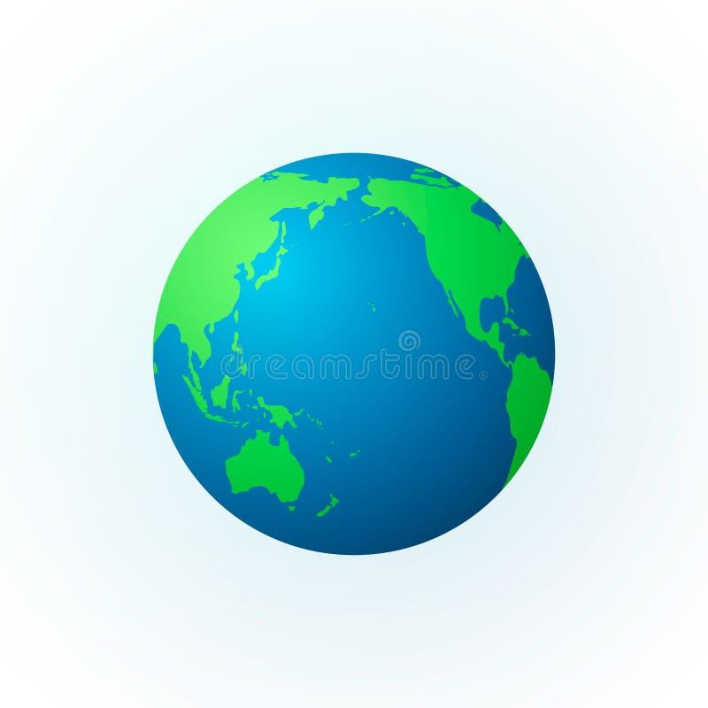 Erde in Form einer Kugel Erdplanetenikone Farbige Weltkarte Vektorillustration lokalisiert auf Weiß lizenzfreie abbildung