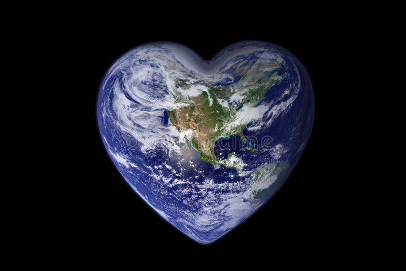 Erde in Form eines Herz-, Ökologie- und Umweltkonzeptes vektor abbildung