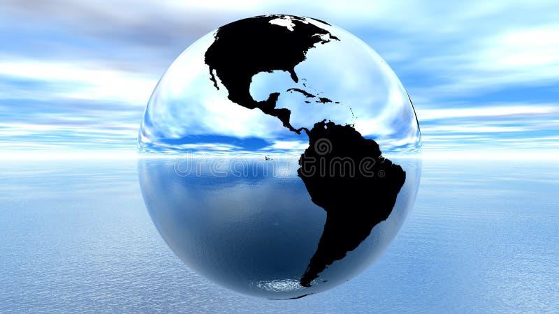 Erde gegen blauen Himmel auf Wasser vektor abbildung