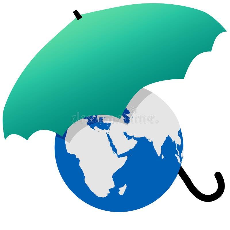 Erde geschützt durch einen grünen Weltregenschirm vektor abbildung