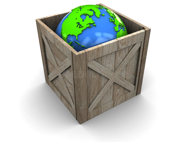 Erde im hölzernen Rahmen lizenzfreie abbildung