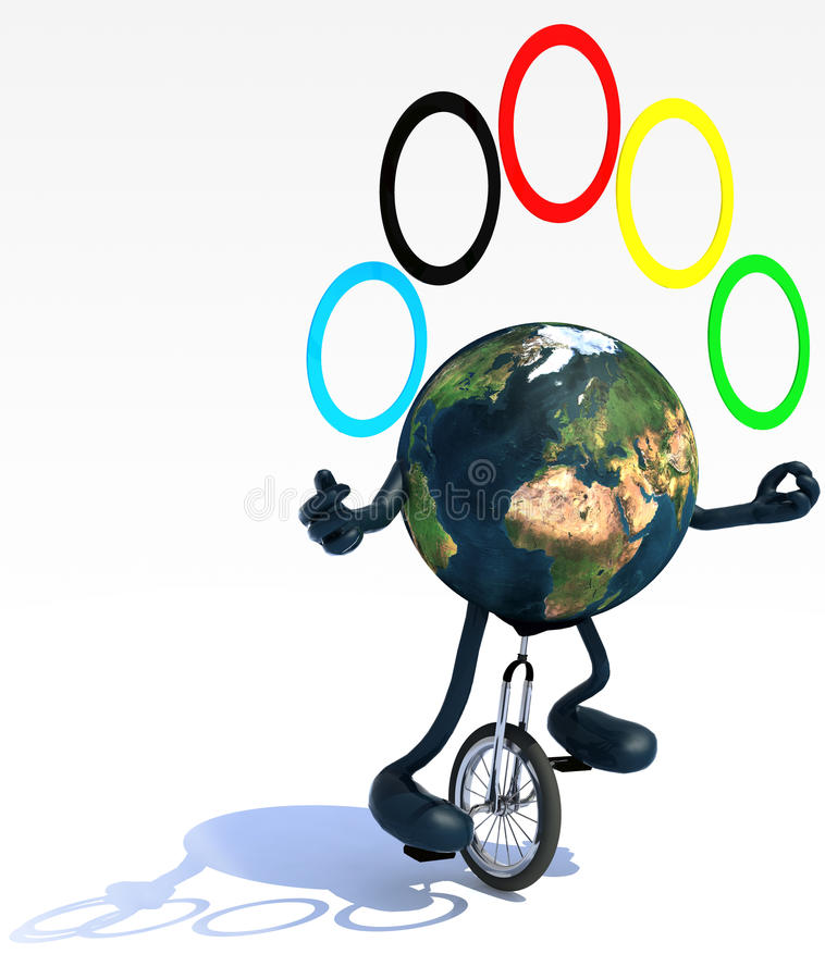 Download Erde Jongliert Mit Den Armen Und Beine Reitet Einen Unicycle Stock Abbildung - Illustration von international, intelligent: 39596007