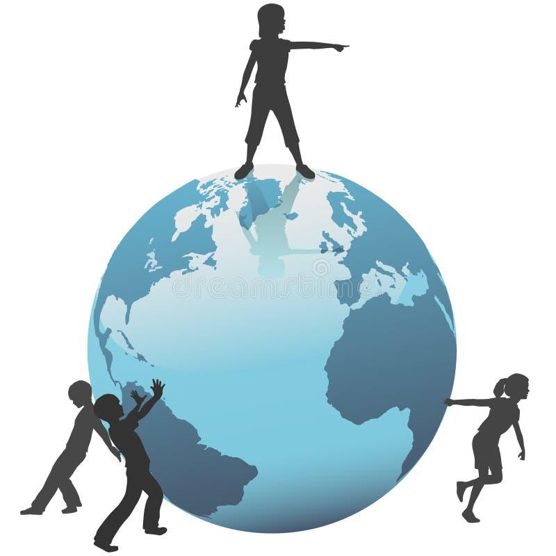 Erde-Kinder bewegen sich außer der Welt auf Zukunft lizenzfreie abbildung