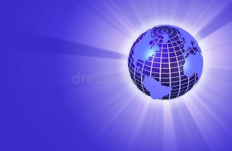 Erde-Kugel, die Leuchte - rechte Lagebestimmung ausstrahlt lizenzfreie abbildung
