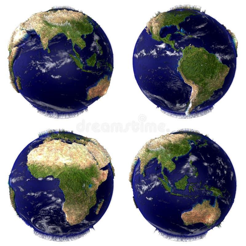 Erde-Kugel getrennt auf weißem Hintergrund lizenzfreie abbildung