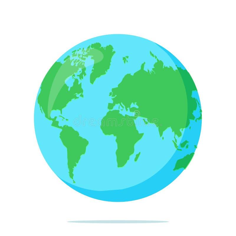 Erde-Kugel getrennt auf weißem Hintergrund Flache Planetenikone Auch im corel abgehobenen Betrag vektor abbildung