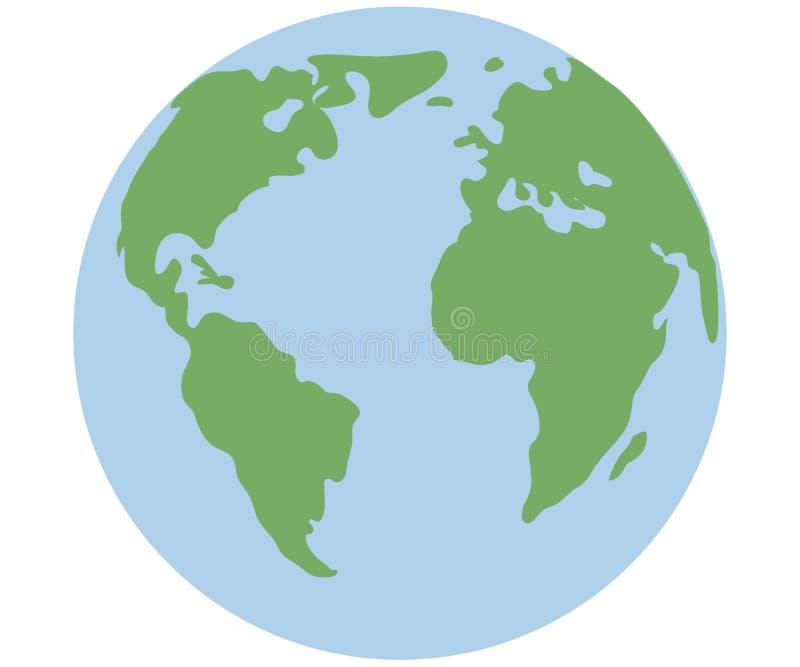 Erde-Kugel getrennt auf wei?em Hintergrund Flache Planetenikone lizenzfreie abbildung