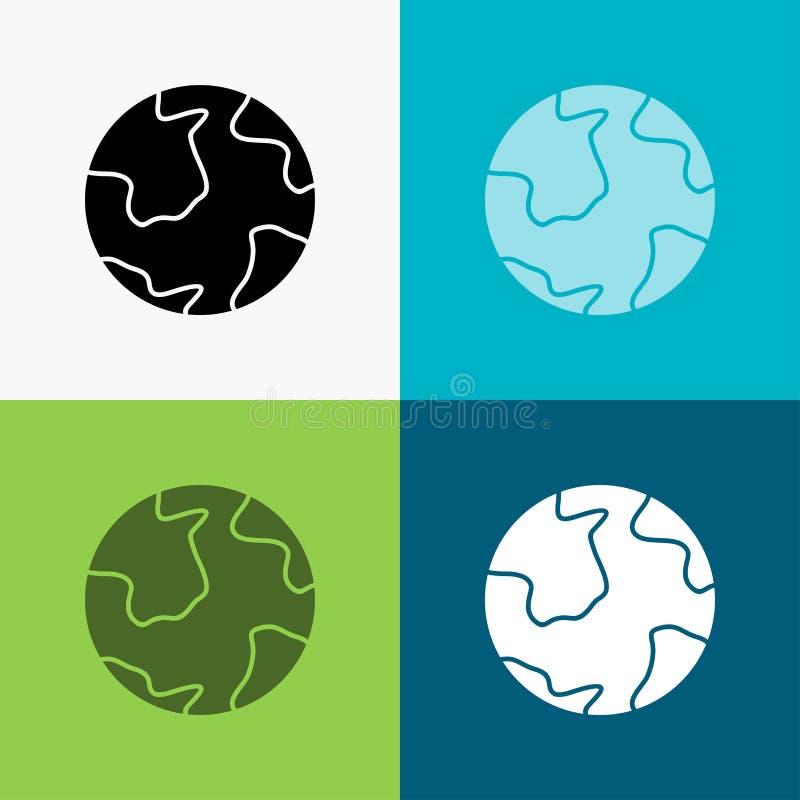 Erde, Kugel, Welt, Geografie, Entdeckung Ikone ?ber verschiedenem Hintergrund Glyphartdesign, bestimmt f?r Netz und APP ENV 10 vektor abbildung