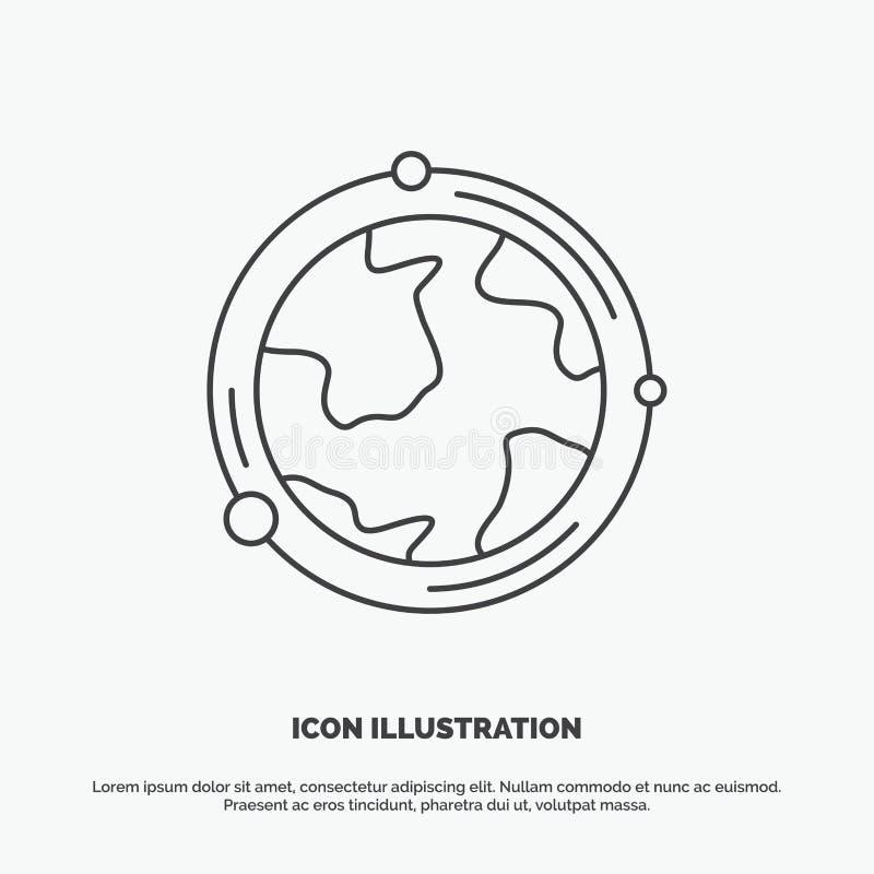Erde, Kugel, Welt, Geografie, Entdeckung Ikone r stock abbildung