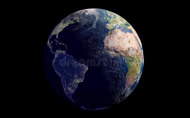 Erde lokalisiert über einem schwarzen Raumhintergrund lizenzfreie abbildung