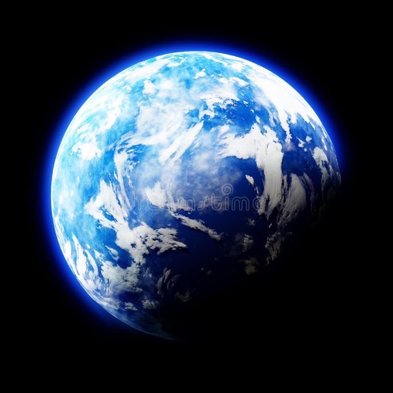 Erde mag Planeten auf schwarzem Hintergrund stock abbildung