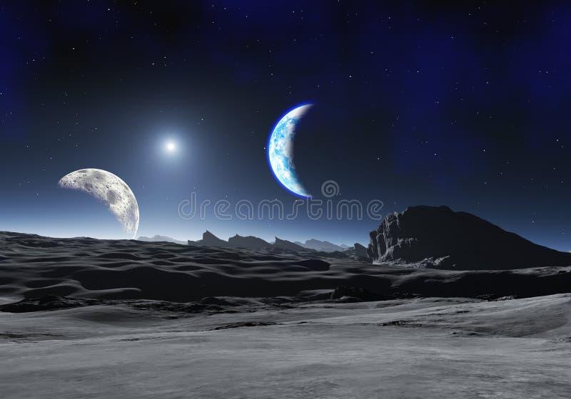 Erde mag Planeten mit zwei Monden stock abbildung