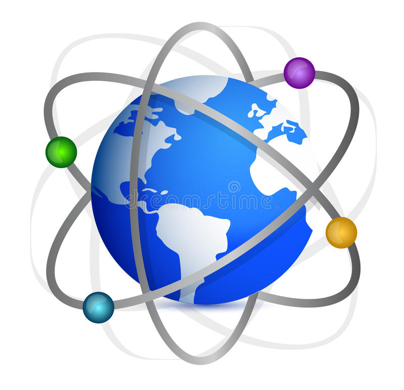 Erde Mit Bahnen Der Satelliten. Stockbild