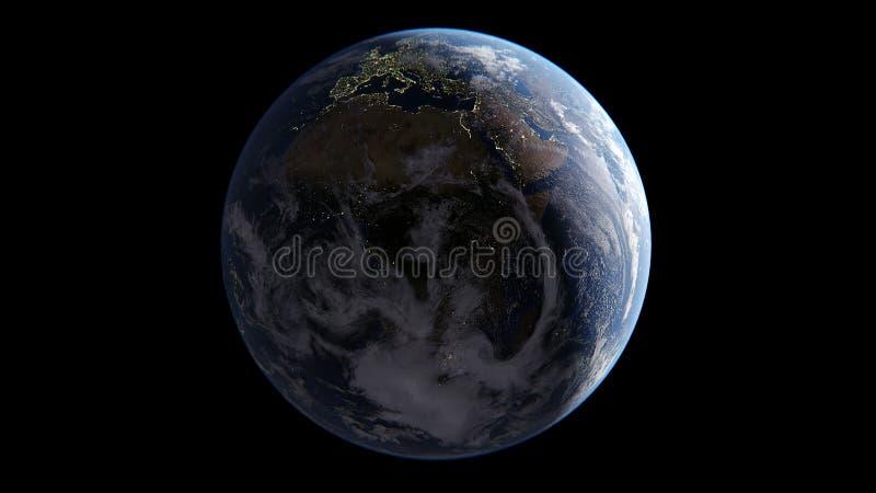 Erde mit den Wolken, die bis zum Sun auf Seiten einem, auf Nachtseite von Lichtern von Städten, an Asien-Tag, in Europa und in Af stock abbildung