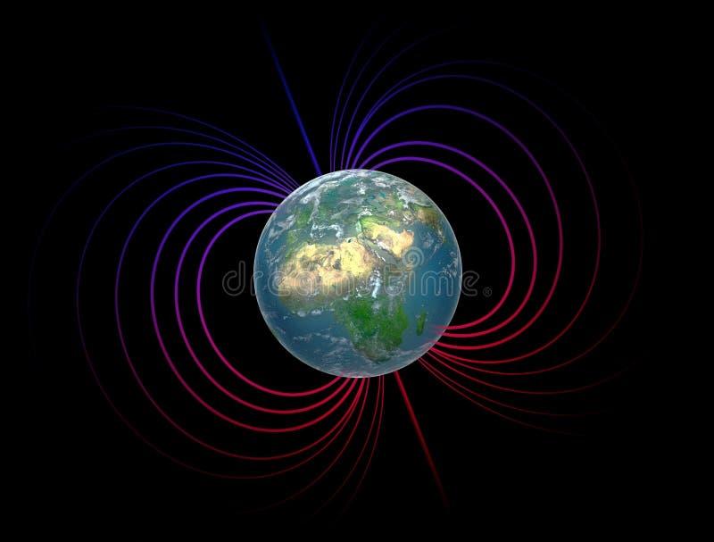 Erde mit der Magnetosphäre lizenzfreie abbildung