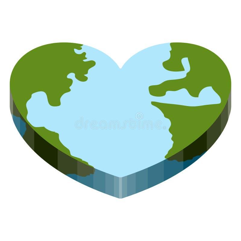 Erde mit einer Form des Herzens 3d lizenzfreie abbildung