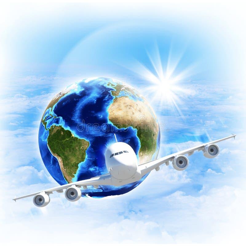 Erde mit flugzeug gegen wolken und sonne stockbild bild for Was hilft gegen fliegen in der erde