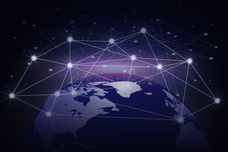 Erde mit Internet-Linie Punkt auf dem dunklen Hintergrund, Int lizenzfreie stockbilder