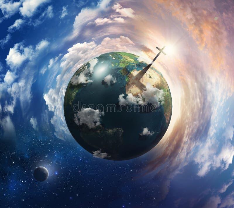 Erde mit Kreuz. lizenzfreies stockfoto
