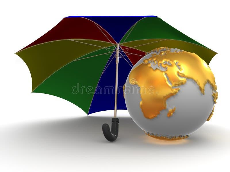 Erde mit Regenschirm stock abbildung