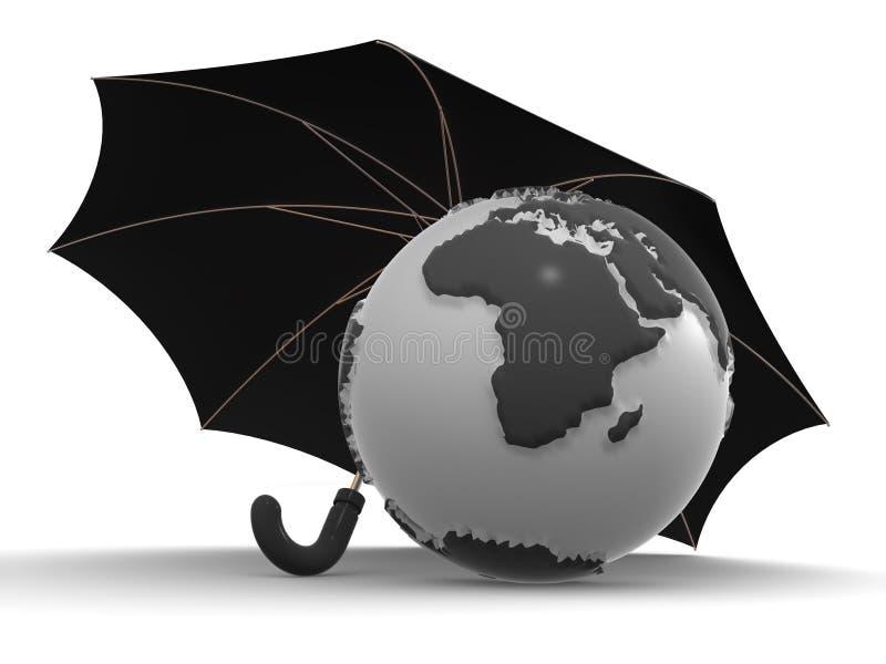 Erde mit Regenschirm lizenzfreie abbildung