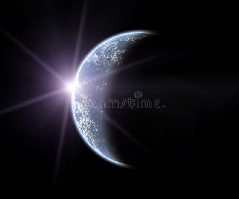 Erde mit steigendem Sun lizenzfreie abbildung