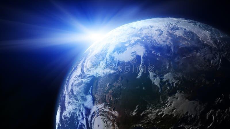 Erde mit steigendem Sun stock abbildung