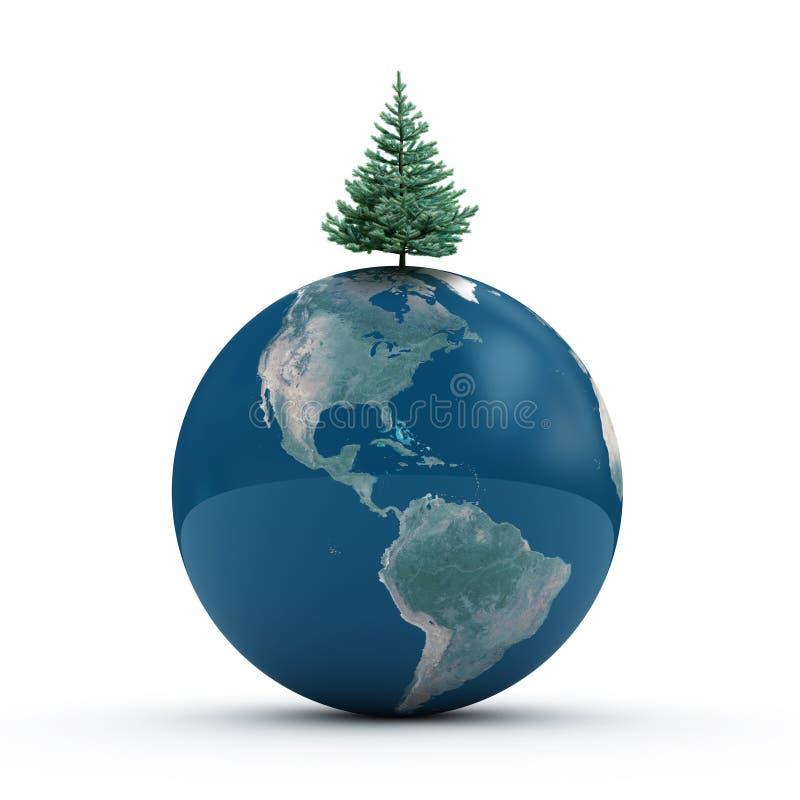 Erde mit Tannenbaum lizenzfreie abbildung