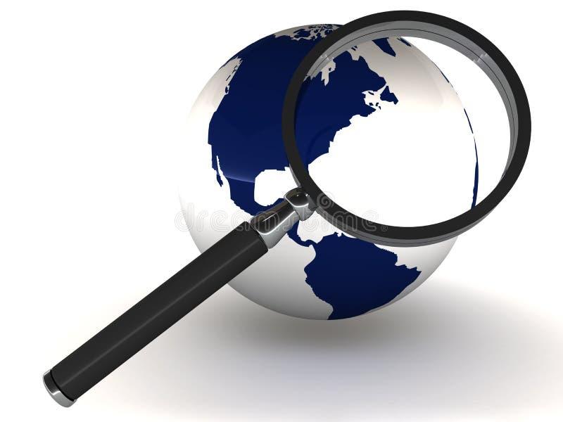 Erde mit Vergrößerungsglas lizenzfreie abbildung