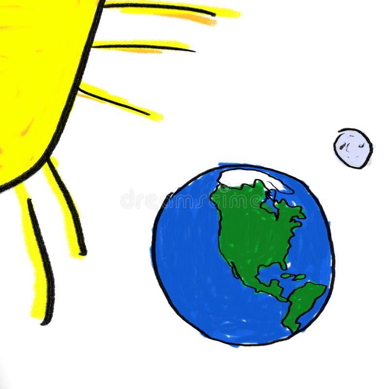 Erde-Mond Sun lizenzfreie abbildung