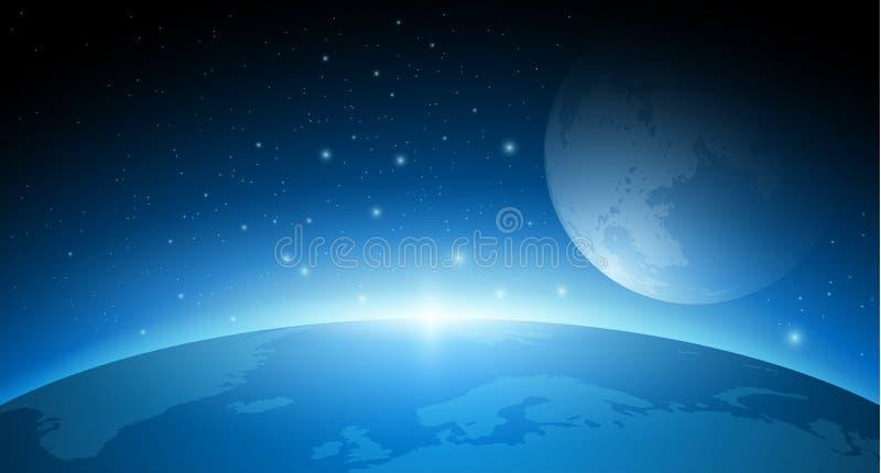Erde, Mond und Rakete lizenzfreie abbildung