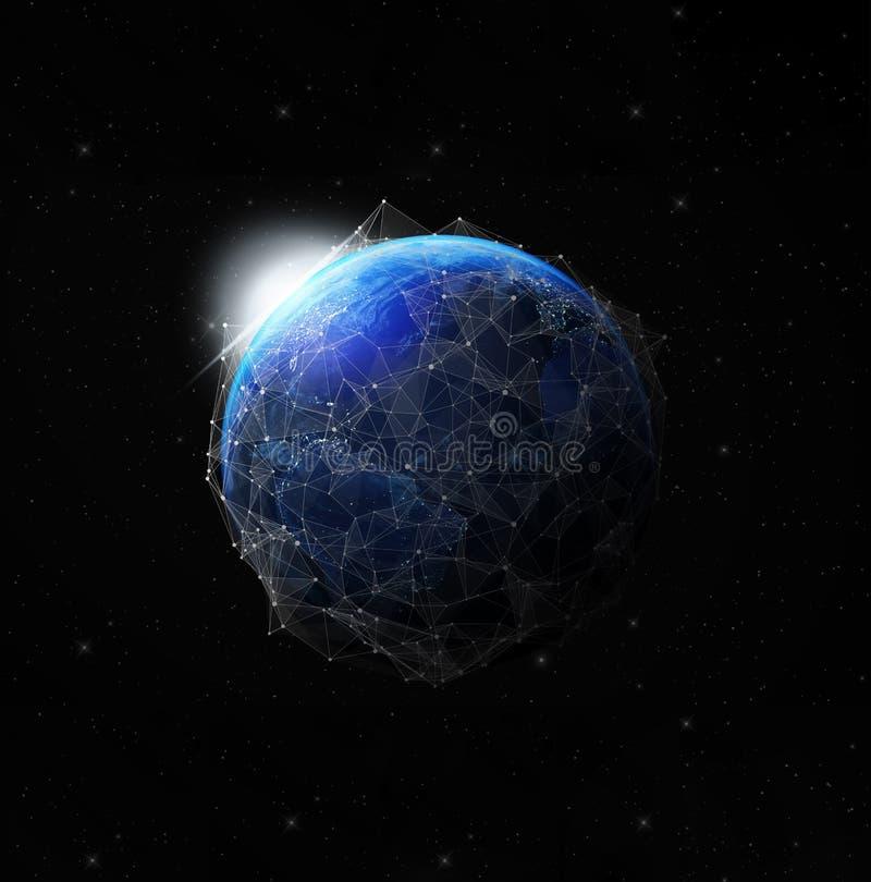 Erde nachts von den globalen Kommunikationen des Raumes lizenzfreie abbildung