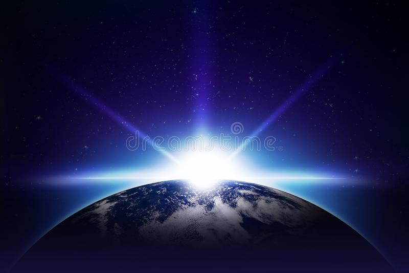 Erde-Sonnenaufgang stock abbildung