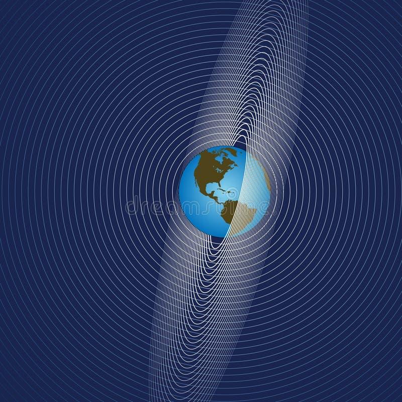 Erde strahlt globalen Comm aus vektor abbildung