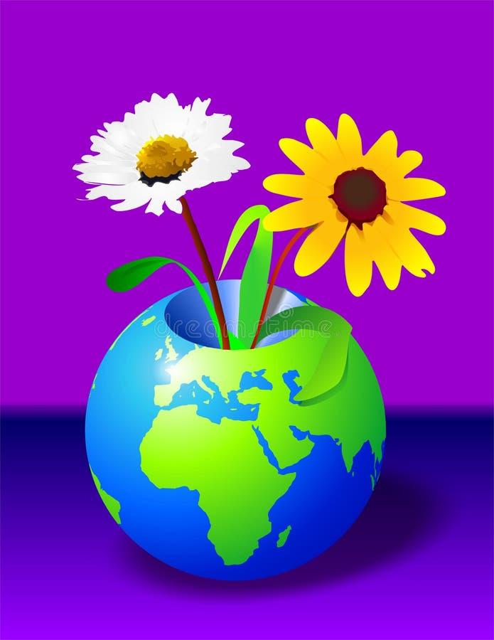 Erde u. Blumen stock abbildung