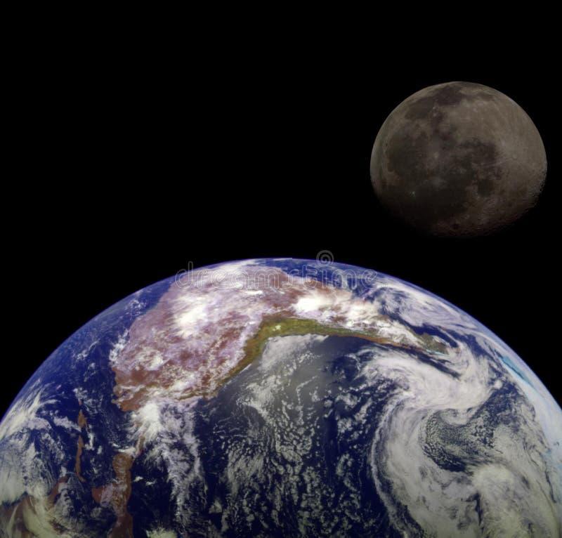 Erde u. Mond lizenzfreie abbildung