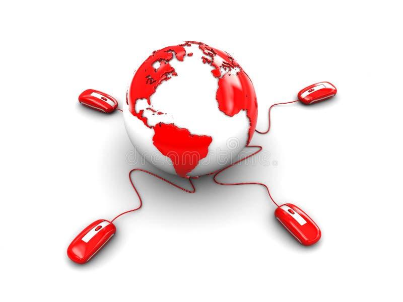 Erde und Computer mouses lizenzfreie abbildung