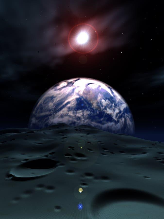 Erde und der Mond lizenzfreie abbildung